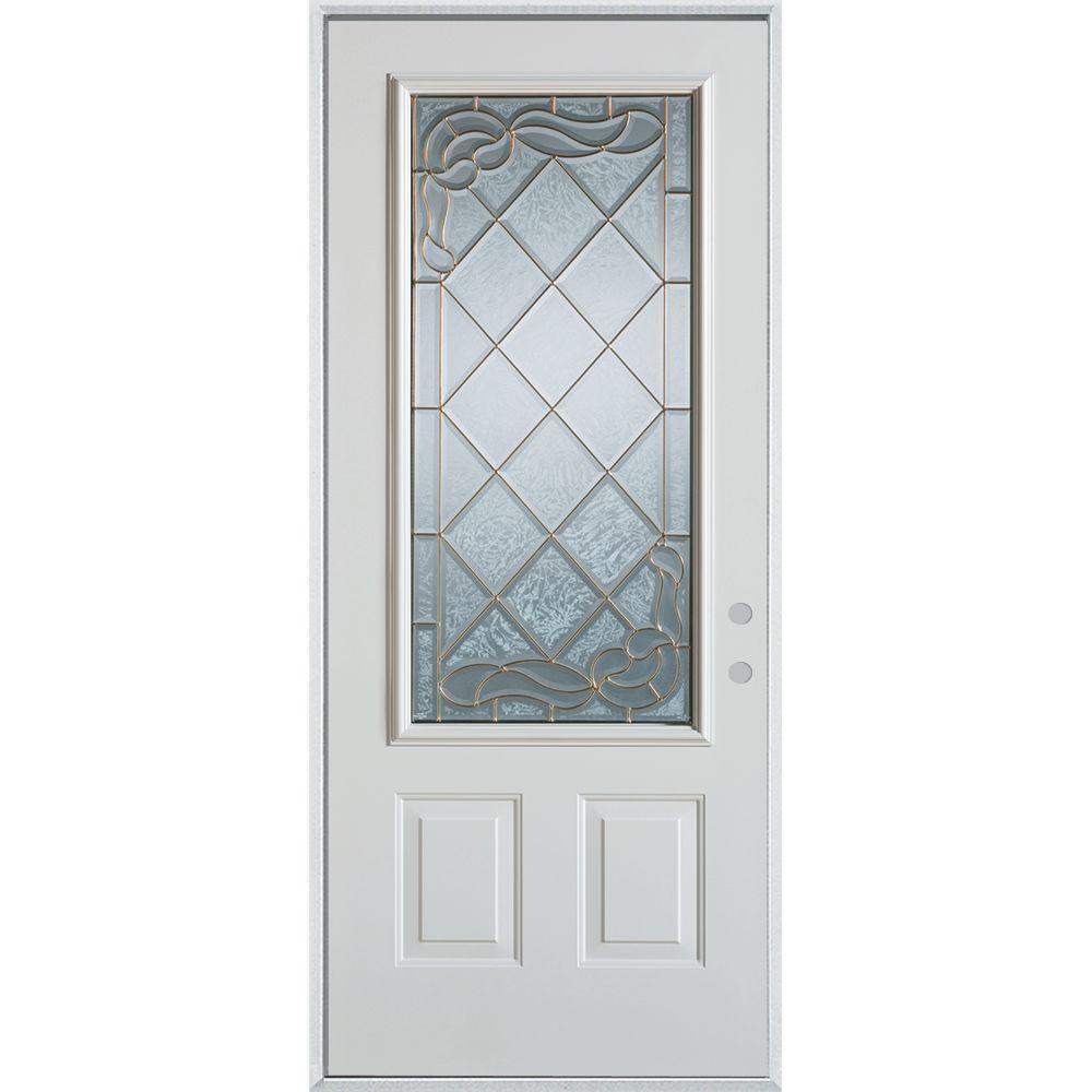 36 in. x 80 in. Art Deco 3/4 Lite 2-Panel Painted White Left-Hand Inswing Steel Prehung Front Door