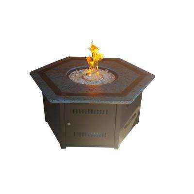 55 in. x 24 in. Hexagon Steel Propane Fire Pit in Blue and Mocha Black Faux Stone