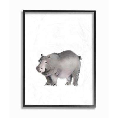 "16 in. x 20 in. ""Painted Hippo Single Animal"" by Studio Q Printed Framed Wall Art"