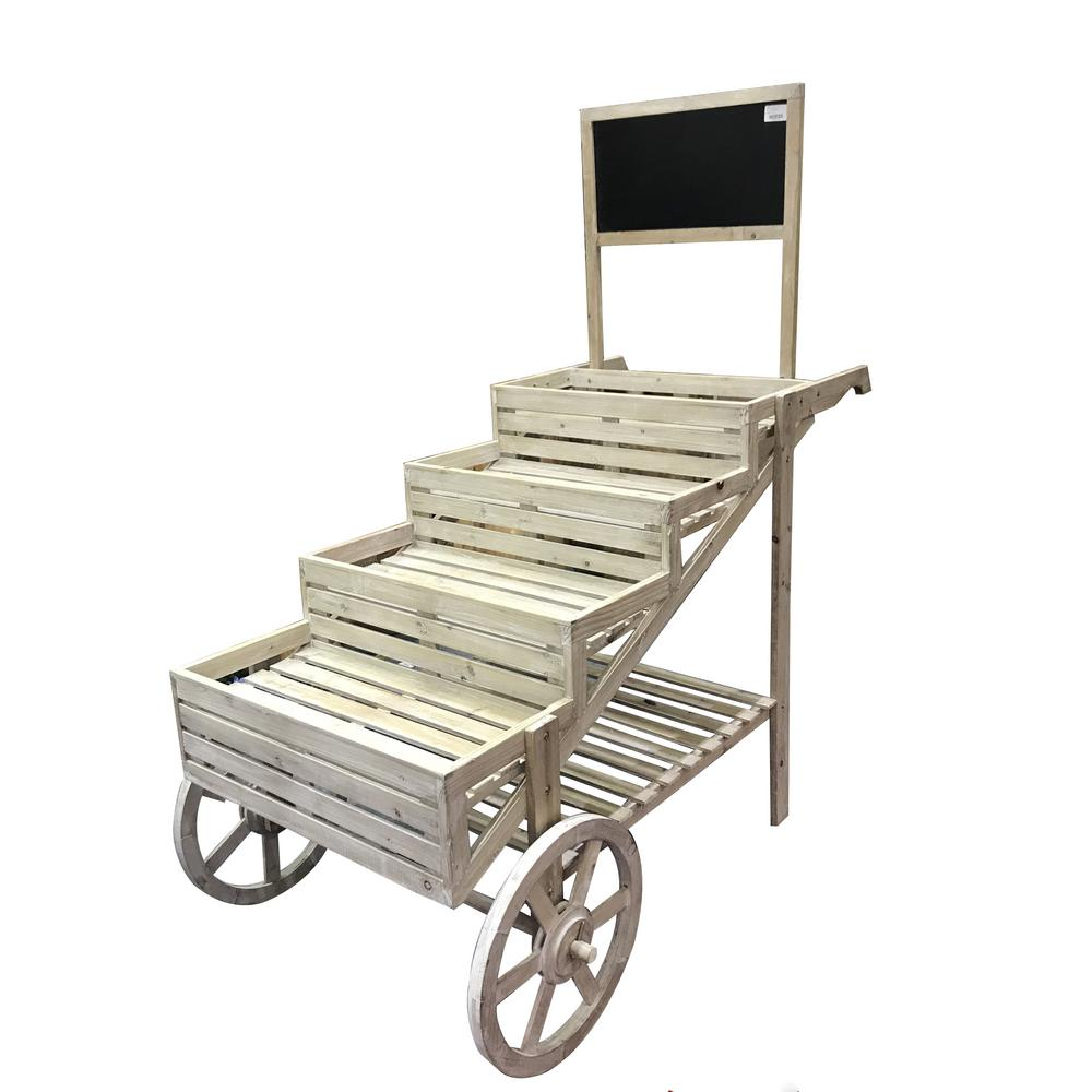 Alpine Corporation 59 In Tall Wooden Cart Plant And Display Stand With Chalkboard