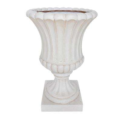 23 in. H Aged White Cast Stone Fluted Urn