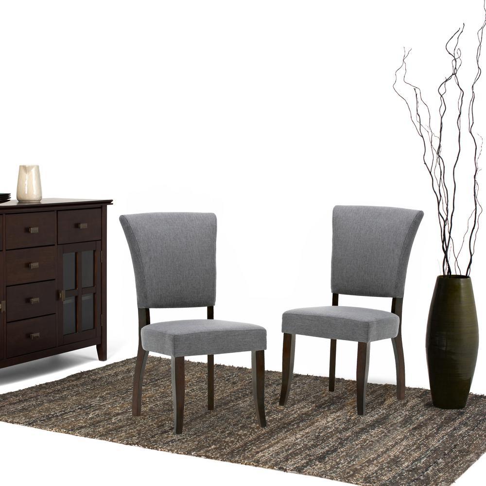 Simpli Home Joseph Slate Grey Linen Look Fabric Dining Chair (Set Of 2)