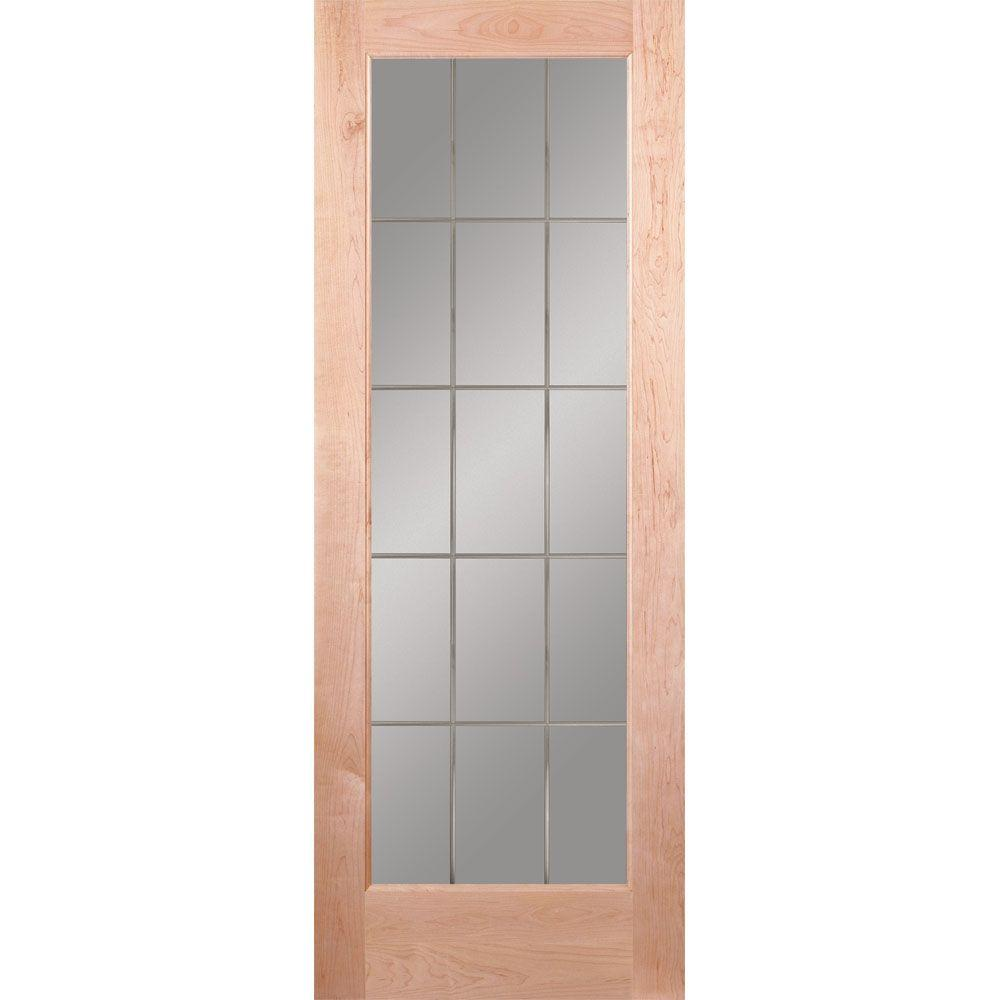 Feather River Doors 30 in. x 80 in. 15 Lite Illusions Woodgrain Unfinished Maple Interior Door Slab