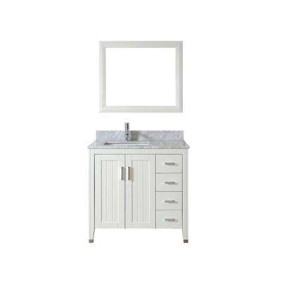 Jackie 36 in. Vanity in White with Marble Vanity Top in Carrara White and Mirror