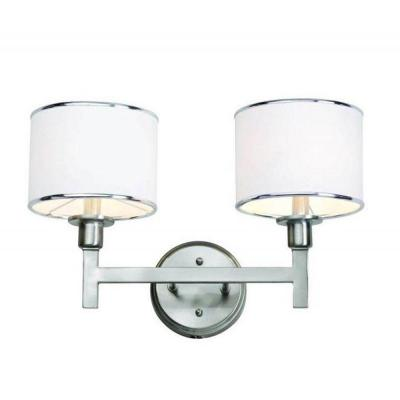 Cabernet Collection 2-Light Brushed Nickel Bath Bar Light with White Linen Shade