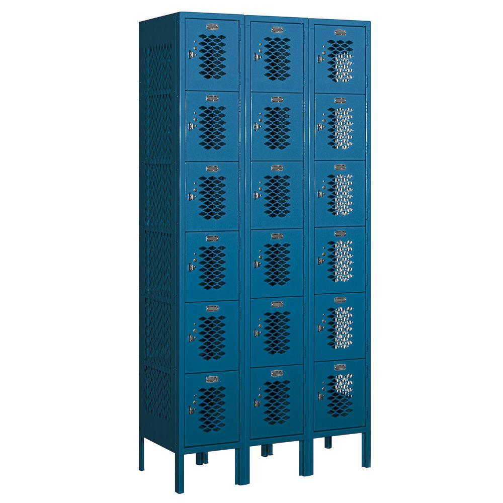 Salsbury Industries 76000 Series 36 in. W x 78 in. H x 15 in. D Six Tier Box Style Vented Metal Locker Assembled in Blue