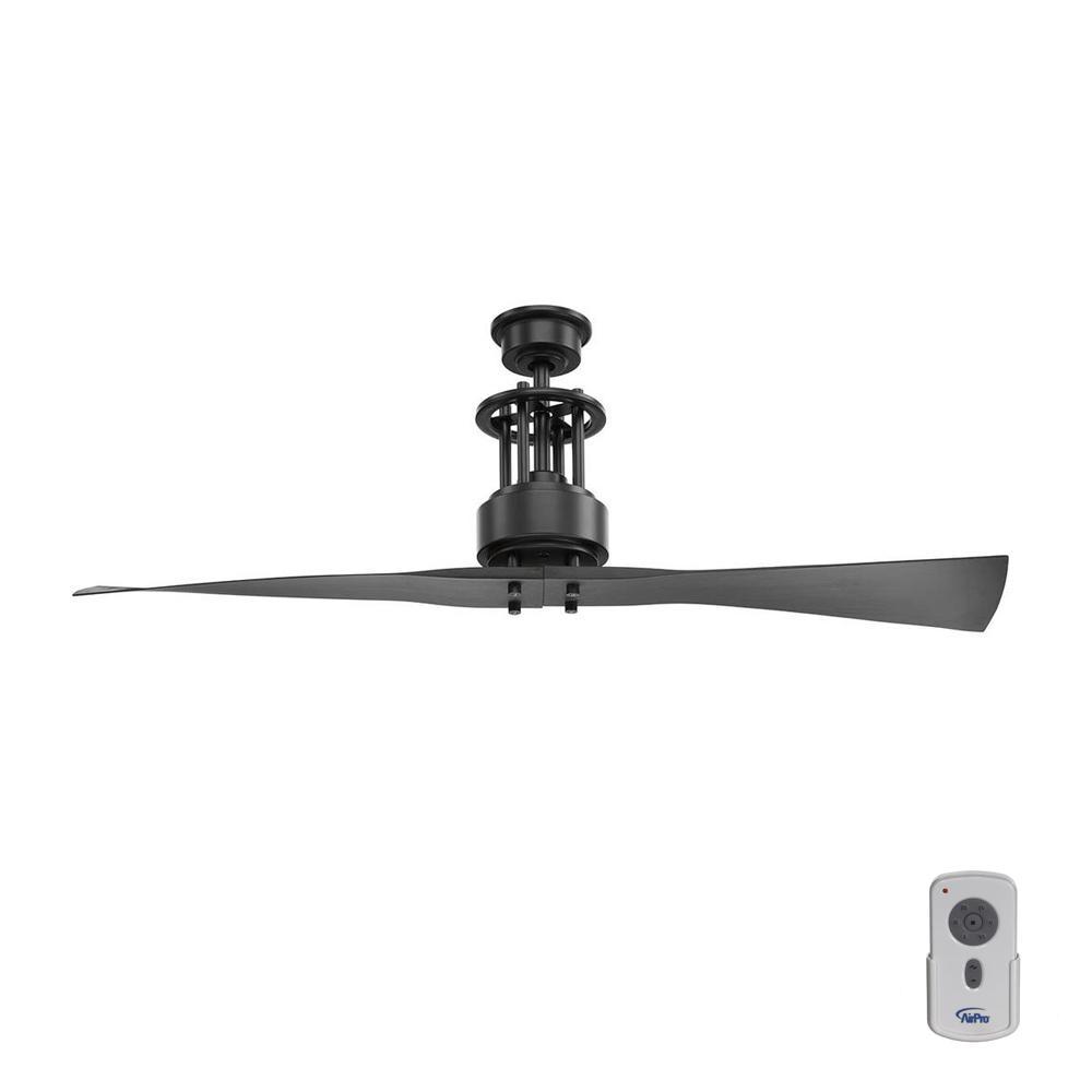 Spades 56 in. Indoor Graphite Black 2 Blade Minimalist Ceiling Fan with Remote