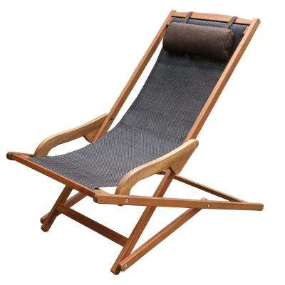 Dark Brown Foldable Sling and Eucalyptus Outdoor Lounge Chair with Head Pillow