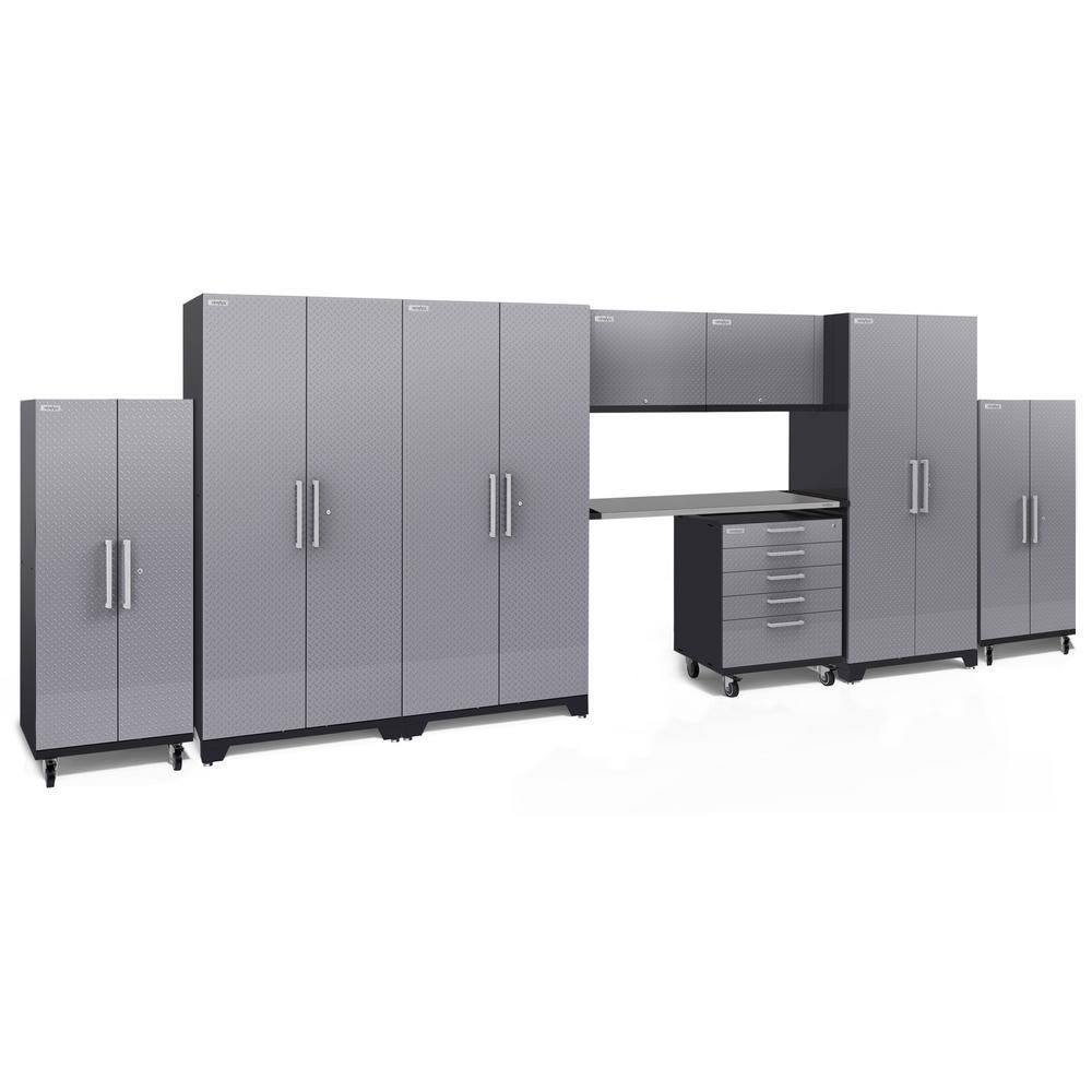 Performance Plus Diamond Plate 2.0 80 in. H x 225 in. W x 24 in. D Garage Cabinet Set in Silver (9-Piece)