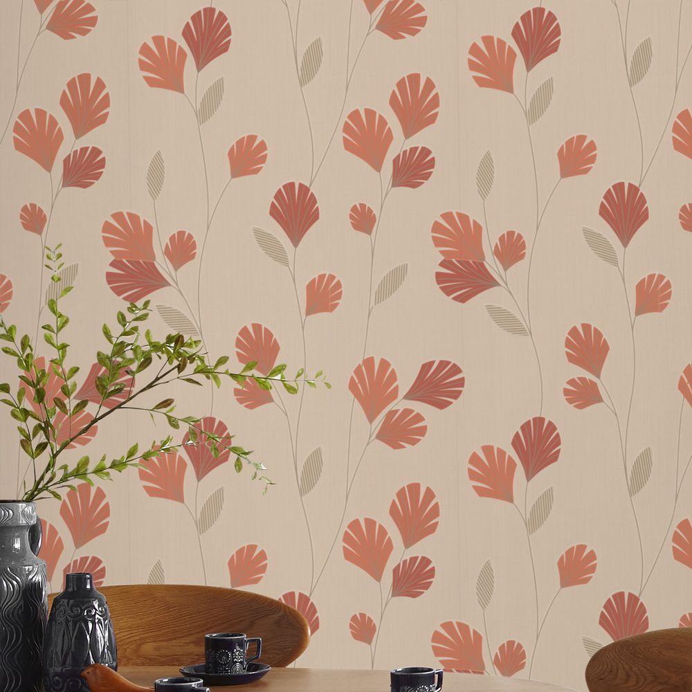 Graham & Brown 56 sq. ft. Sarah Orange Wallpaper