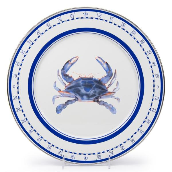 Golden Rabbit 12.5 in. Blue Crab Enamelware Round Charger Plate SE26