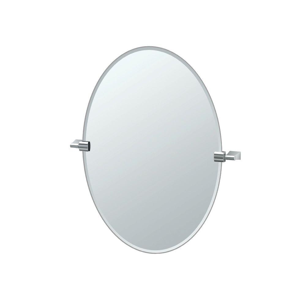 Bleu 24 in. x 27 in. Frameless Single Oval Mirror in