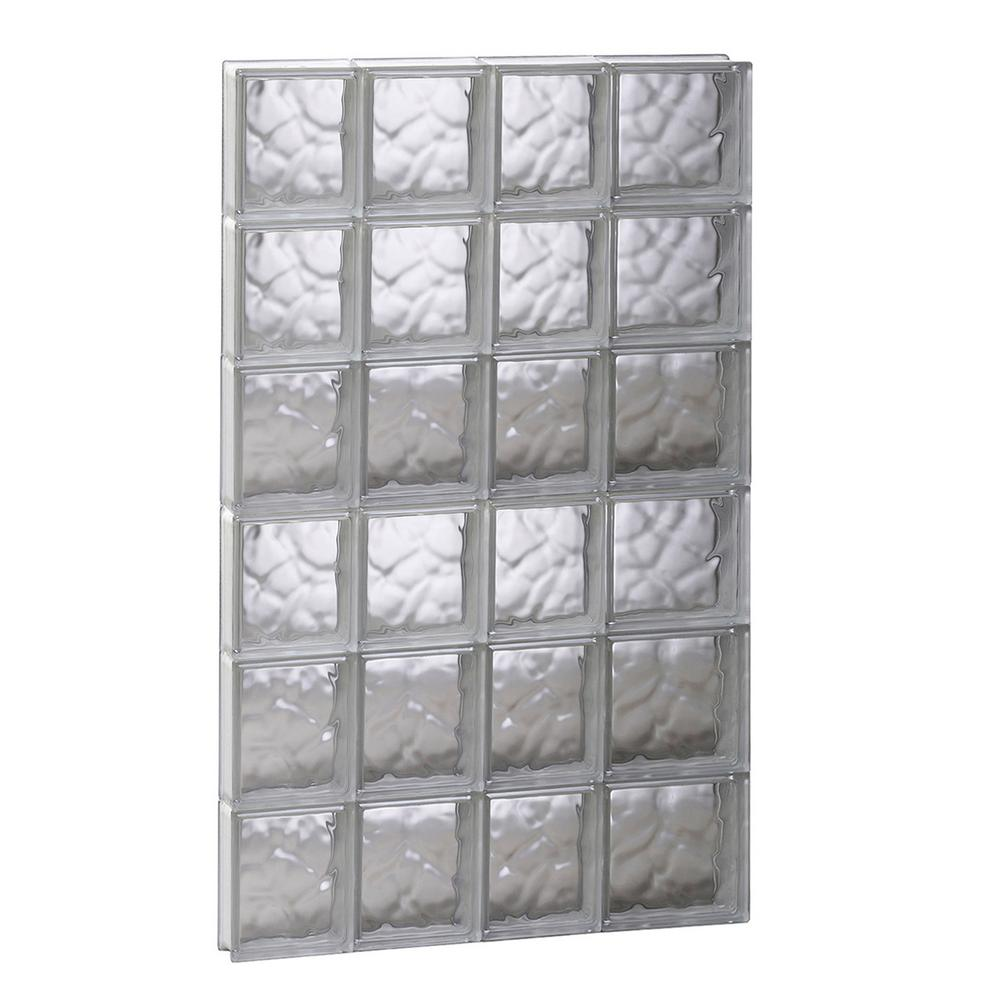 Clearly secure 25 in x 46 5 in x in wave pattern for Glass block window sizes