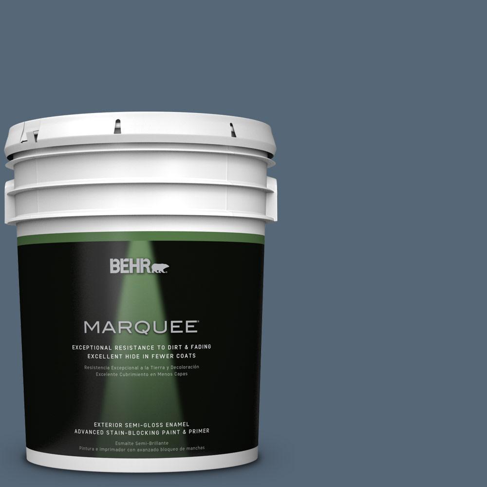 BEHR MARQUEE 5-gal. #S510-6 Durango Blue Semi-Gloss Enamel Exterior Paint
