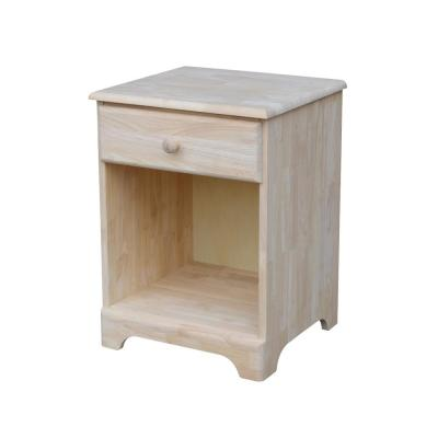 1-Drawer Unfinished Wood Nightstand