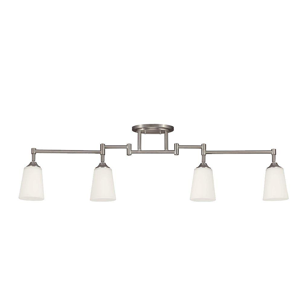 Sea gull lighting 4 light brushed nickel track lighting kit with sea gull lighting 4 light brushed nickel track lighting kit with satin white glass aloadofball