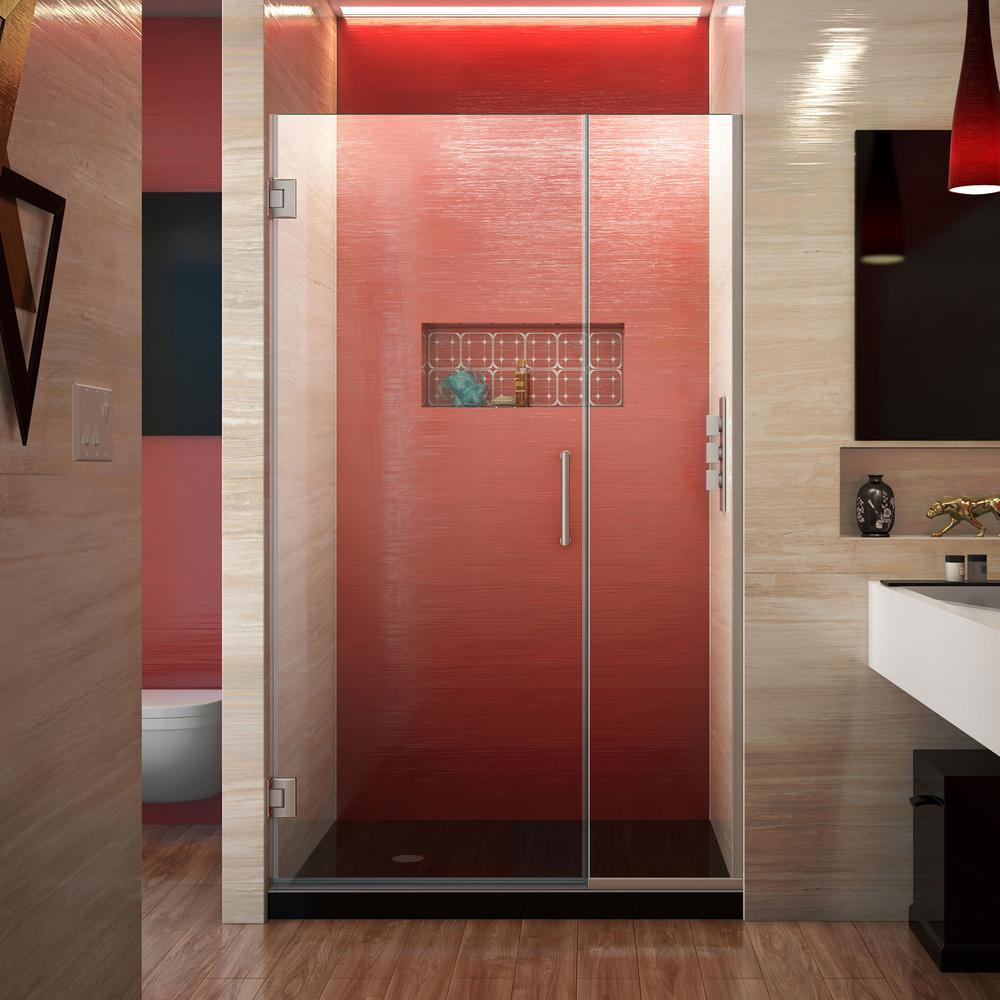 Unidoor Plus 37.5 to 38 in. x 72 in. Frameless Hinged Shower Door in Brushed Nickel