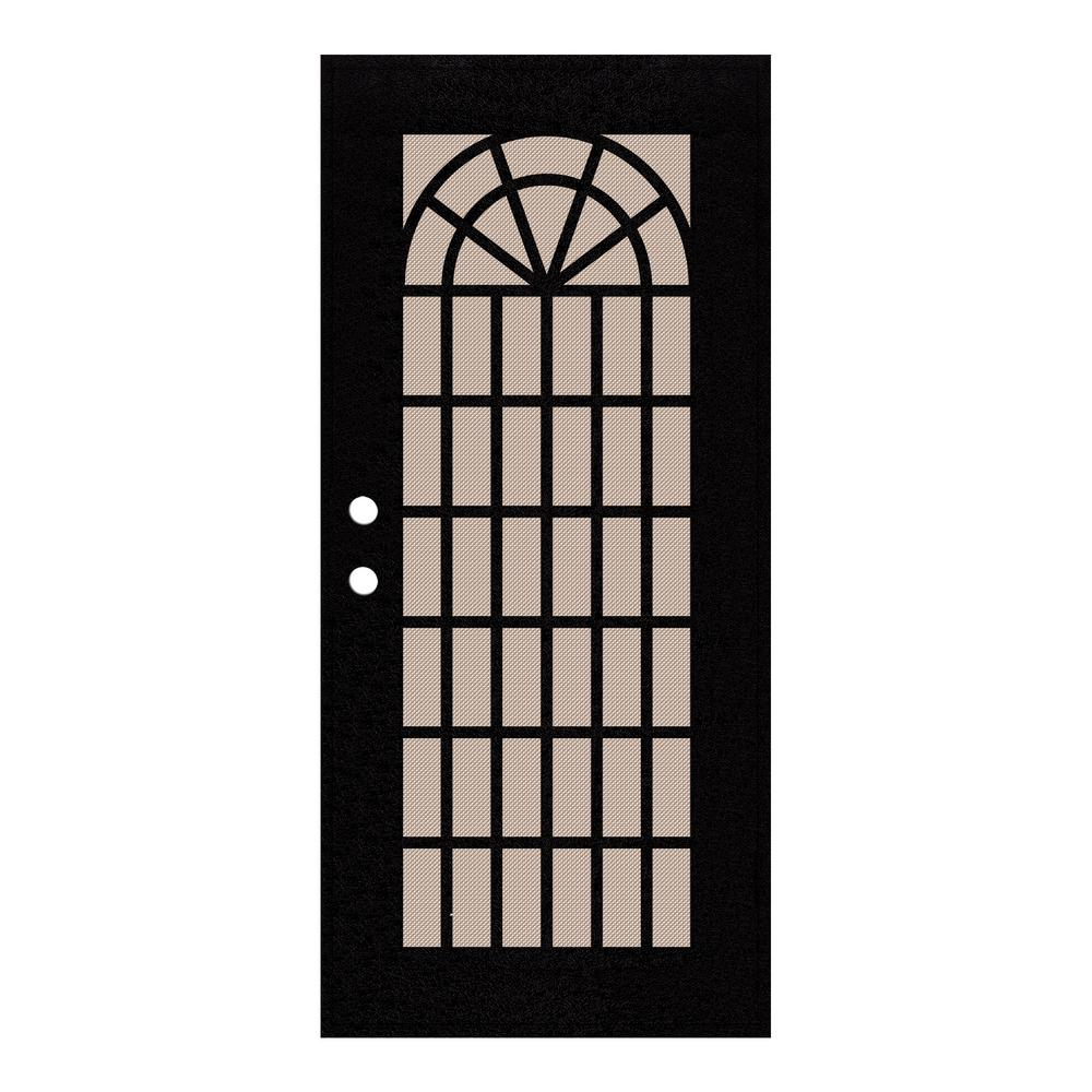Unique Home Designs 36 in. x 80 in. Trellis Black Right-Hand Surface Mount Security Door with ...