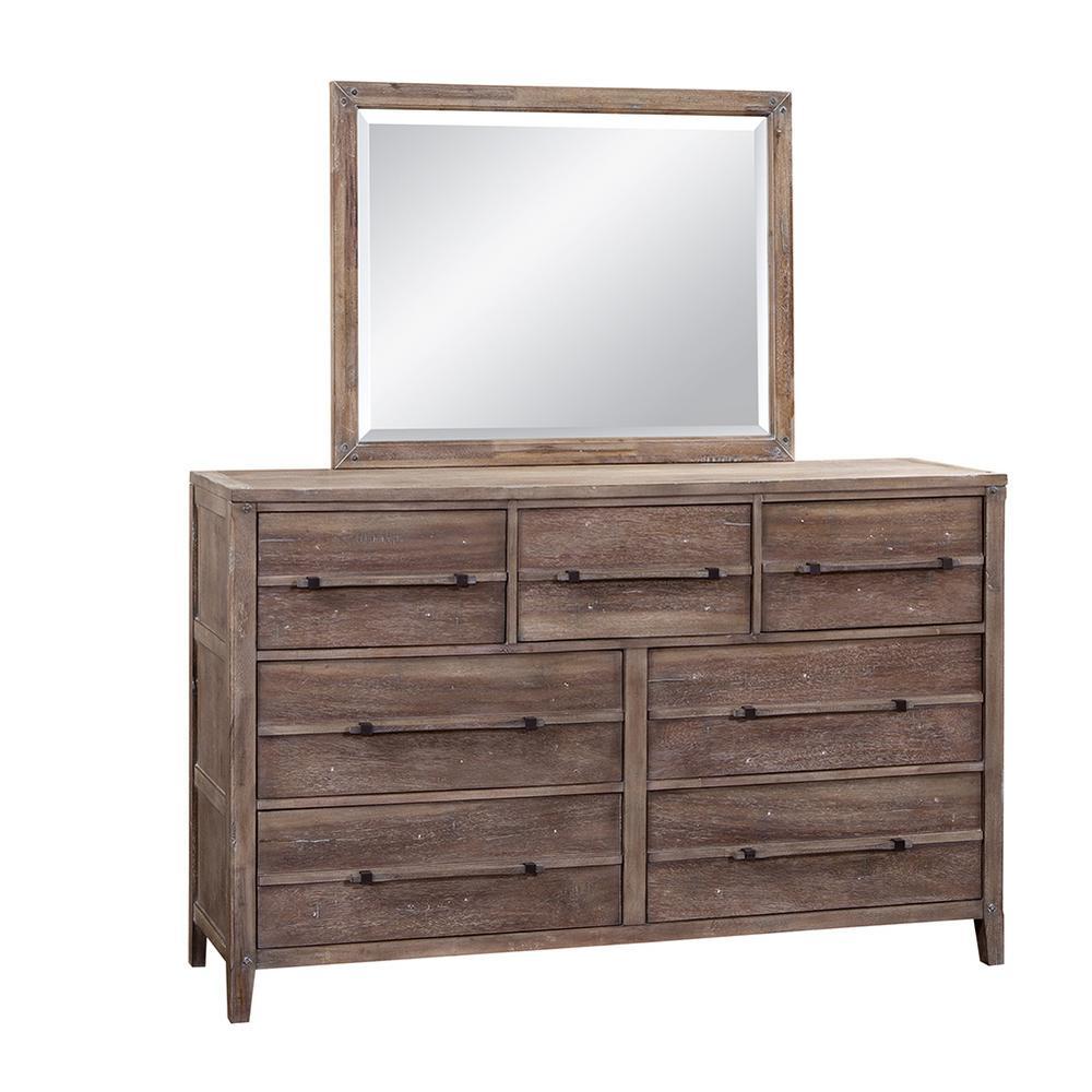 Aurora 7-Drawer Weathered Gray Dresser and Mirror
