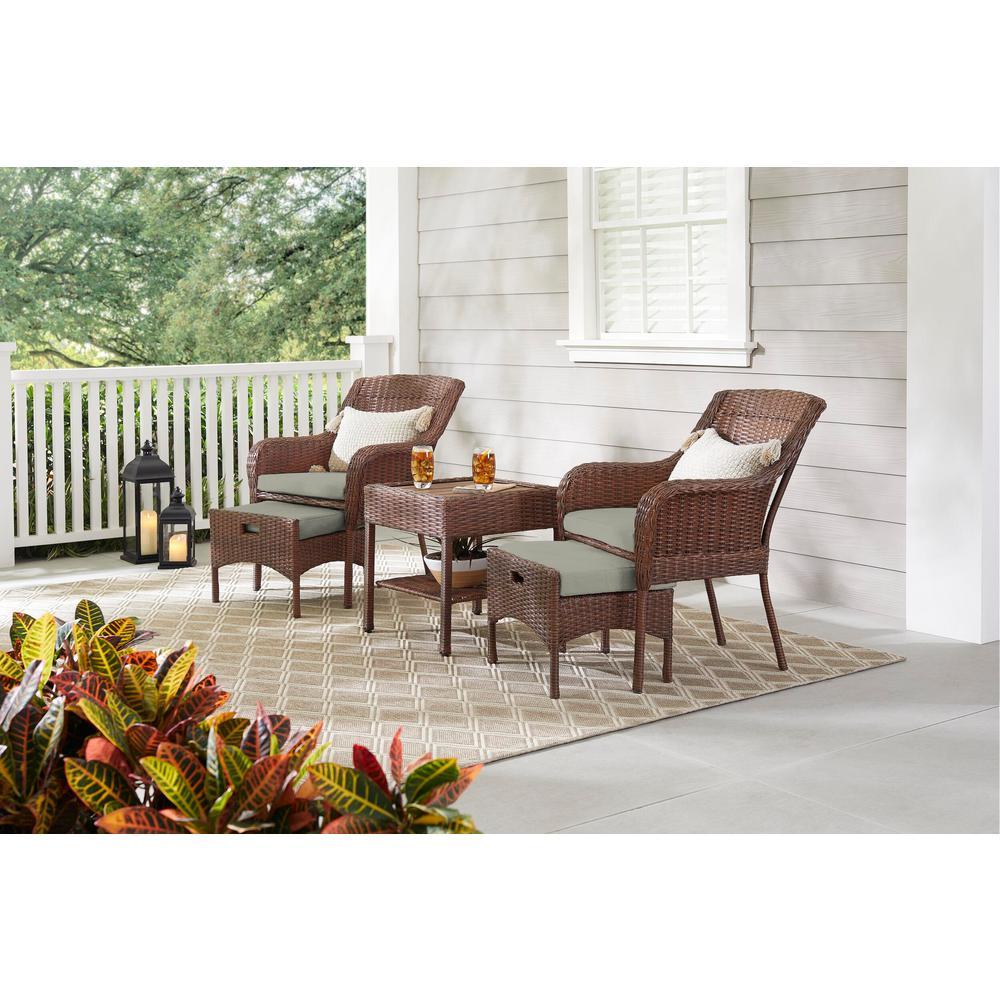 Hampton Bay Cambridge 5-Piece Brown Wicker Outdoor Patio Conversation Seating Set with CushionGuard Stone Gray Cushions