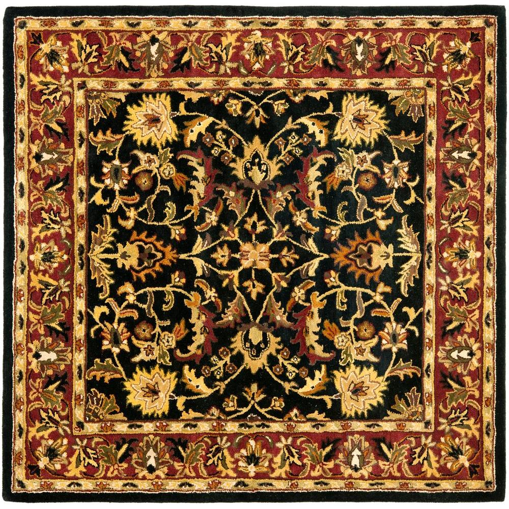 Safavieh Heritage Black Red 8 Ft X 8 Ft Square Area Rug Hg953a 8sq