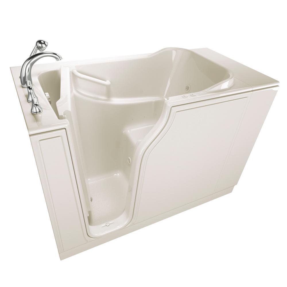 Gelcoat Entry Series 52 in. Walk-In Air Bath Bathtub in Biscuit