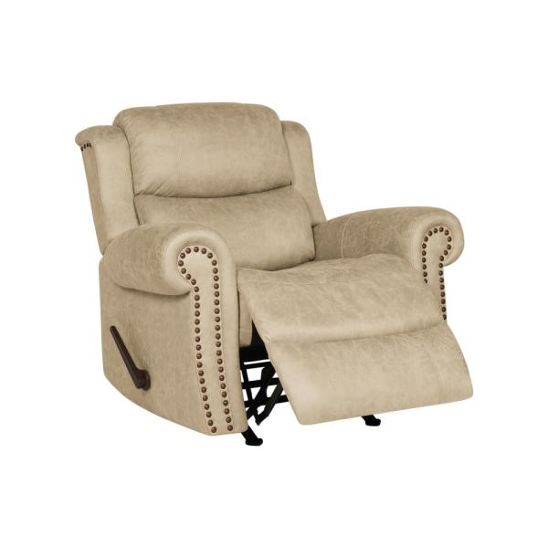 ProLounger Rocker Rolled Arm Recliner Chair in Distressed Latte Tan Faux
