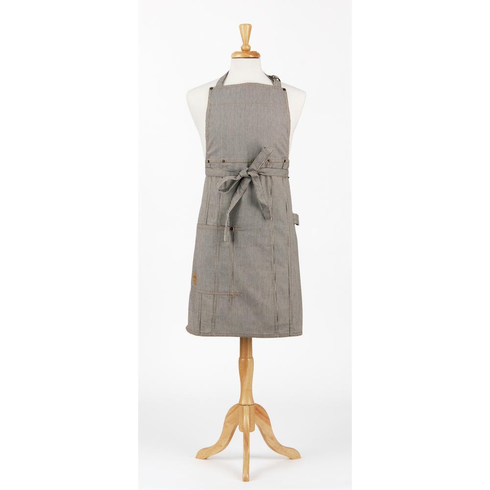 Asd living railroad stripe denim bib apron and chef 39 s hat for Decor 52 fan celano ma dw