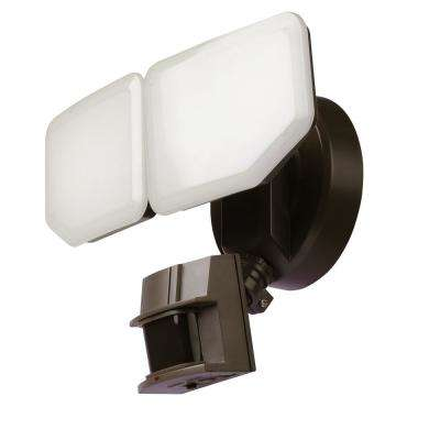 30-Watt 180-Degree Bronze Motion Activated Outdoor Integrated LED Security Flood Light with PIR Dusk to Dawn Sensor