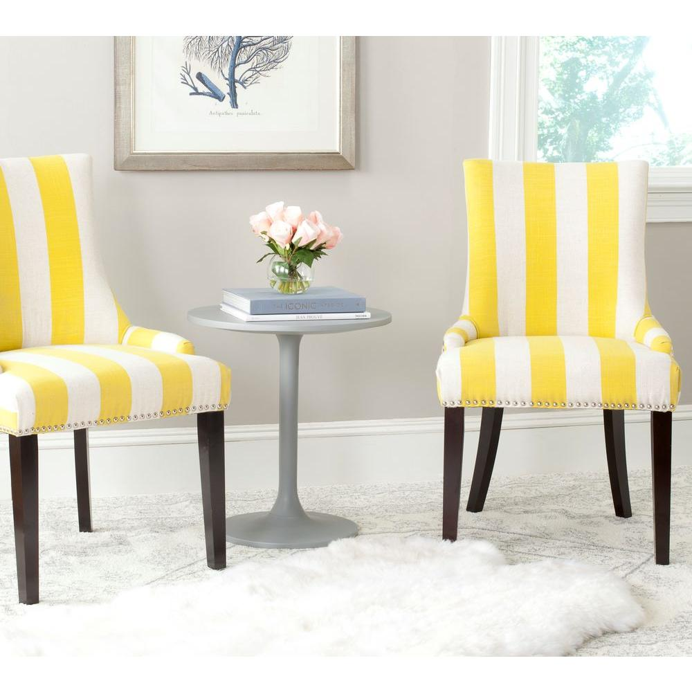Safavieh Lester Yellow And White Linen Blend Dining Chair