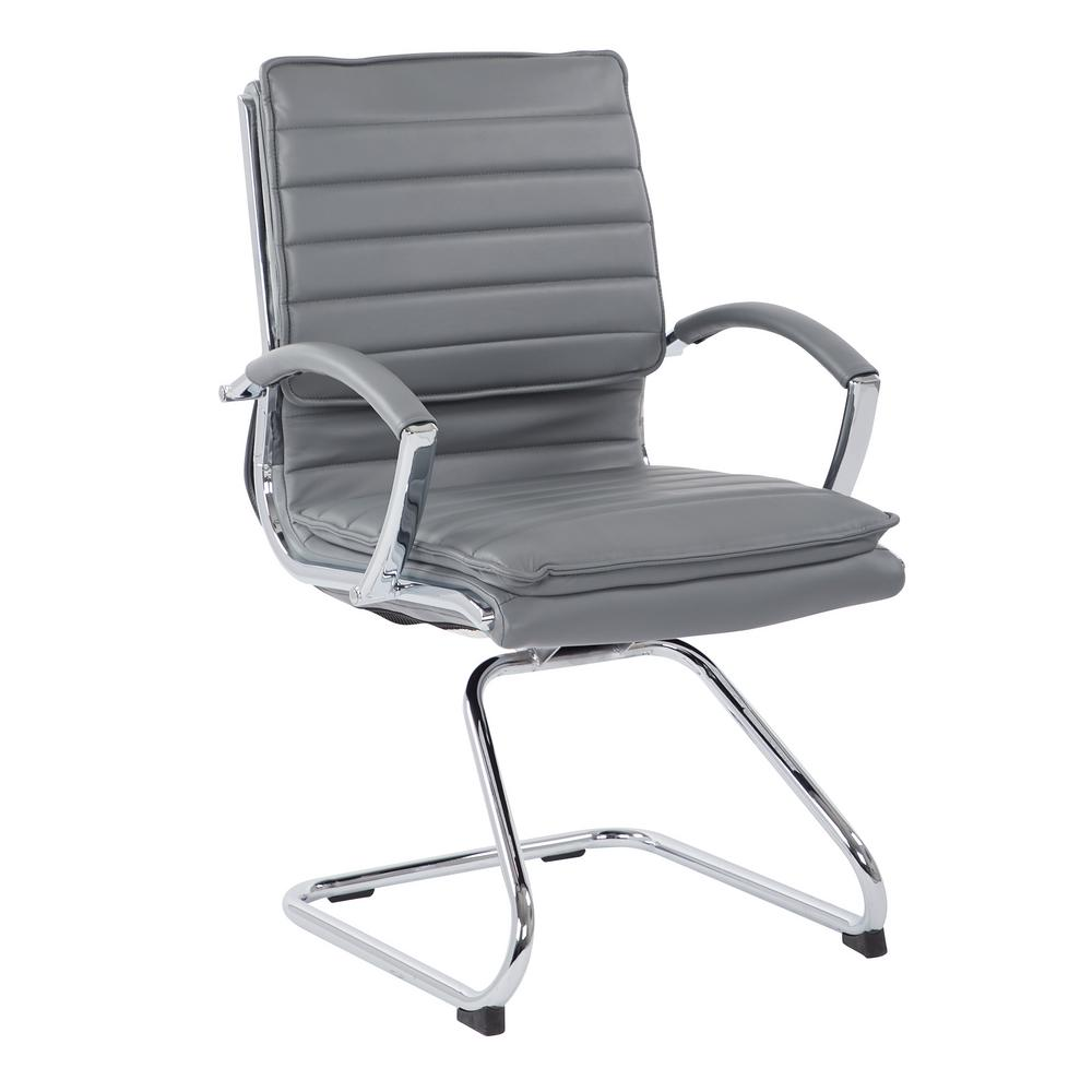 Pro Line Ii Guest Charcoal Faux Leather Chair With Chrome Base