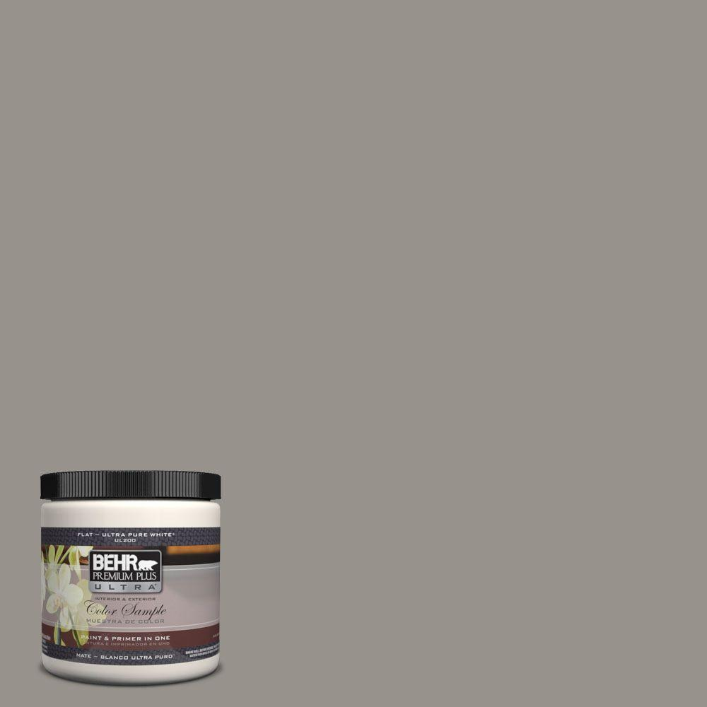 BEHR Premium Plus Ultra 8 oz. #UL260-5 Elephant Skin Matte Interior/Exterior Paint and Primer in One Sample