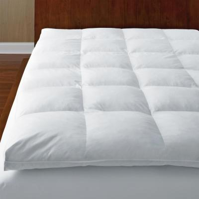 Ultimate Baffled Square 4 in. Twin Down Featherbed Mattress Topper