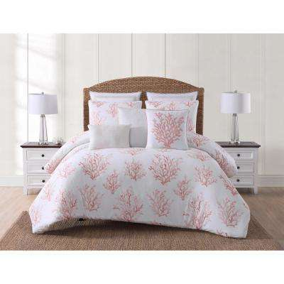 Cove White and Coral Full/Queen Comforter with 2-Shams
