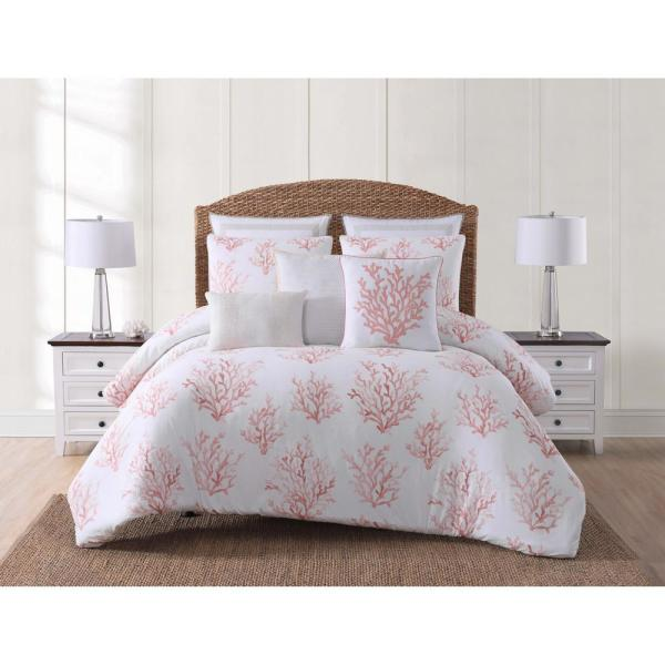 Bettdecken New Twin Xl Full Queen Bed Coral Gray White Painted Floral 5 Pc Comforter Set Möbel Wohnen Totum Ca
