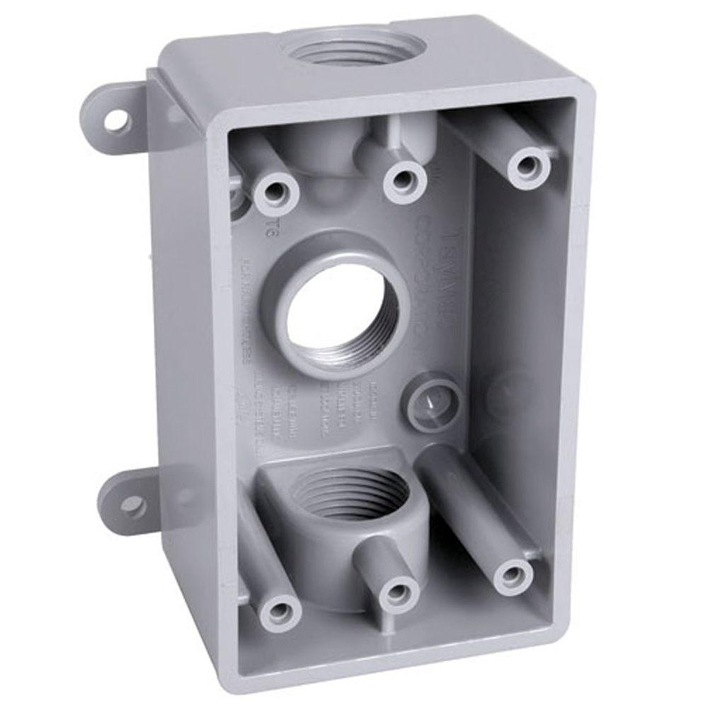 Bell 1 Gang Weatherproof Box Three 1 2 In Or 3 4 In Outlets