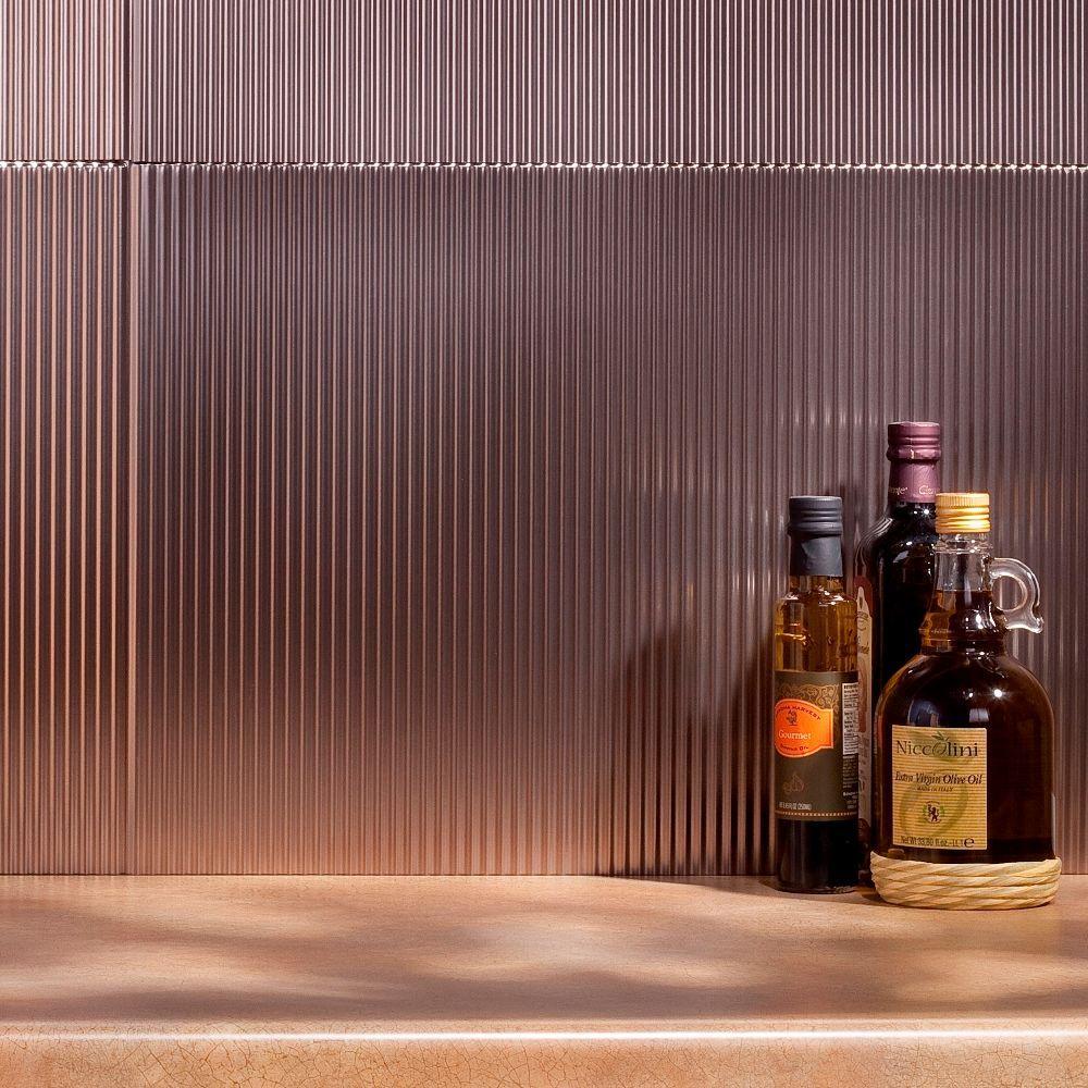24 in. x 18 in. Rib PVC Decorative Backsplash Panel in Brushed Nickel