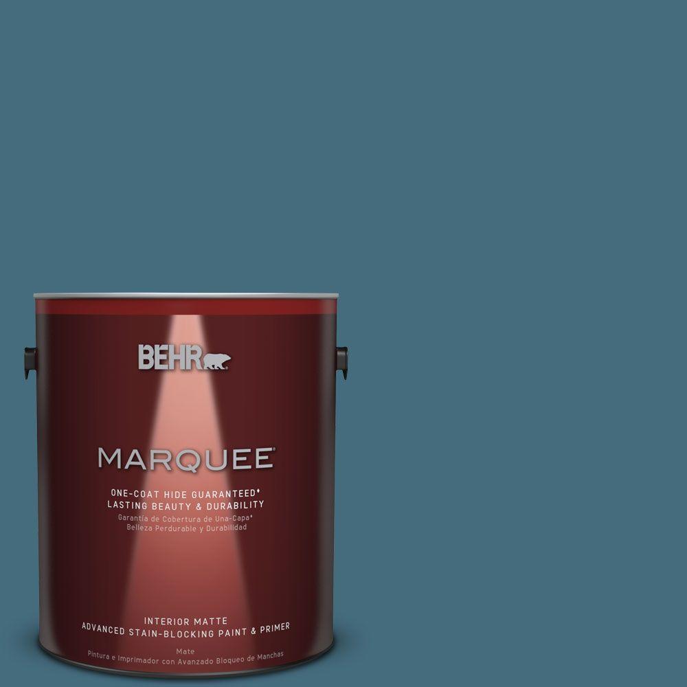Behr Marquee 1 Gal S480 6 Poseidon One Coat Hide Matte Interior
