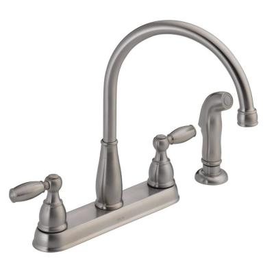 Foundations 2-Handle Standard Kitchen Faucet with Side Sprayer in Stainless