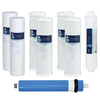 Complete 50 GPD 5-Stage Replacement Filter Set for Standard Size Reverse Osmosis System (with Extra Pre-Filter Set)