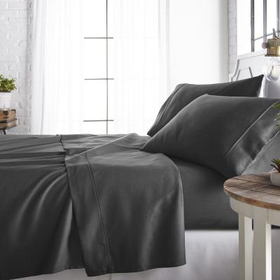 4-Piece Gray 800 Thread Count Cotton Rich Full Bed Sheet Set