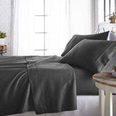 4-Piece Gray 800 Thread Count Cotton Rich Queen Bed Sheet Set