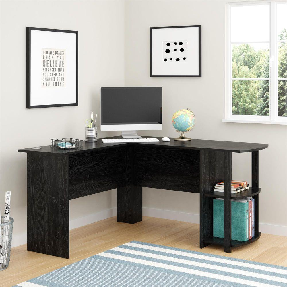 corner desk with 2 shelves in black ebony ash