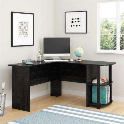 Corner Desk with 2-Shelves in Black Ebony Ash