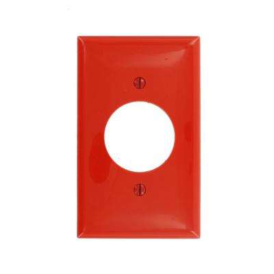 1-Gang 1 Single Receptacle, Standard Size Nylon Wall Plate - Red