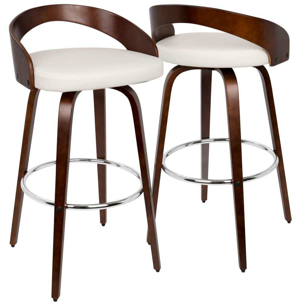 Lumisource Grotto Cherry Wood And White Swivel Barstool Bs