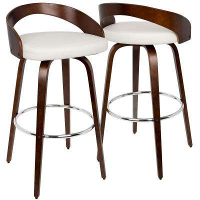 Grotto Cherry Wood and White Swivel Barstool