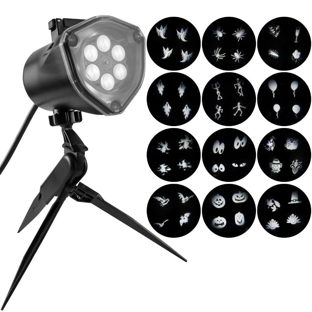 Projection 4-Bulb LED White Whirl-A-Motion Strobe Light Stake with 12-Changeable
