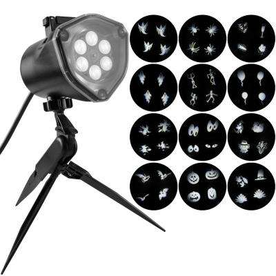 Projection 4-Bulb LED White Whirl-A-Motion Strobe Light Stake with 12-Changeable Halloween Slides