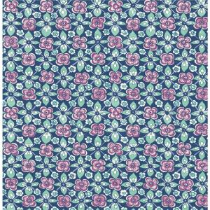 Free Spirit Indigo Floral Wallpaper Sample